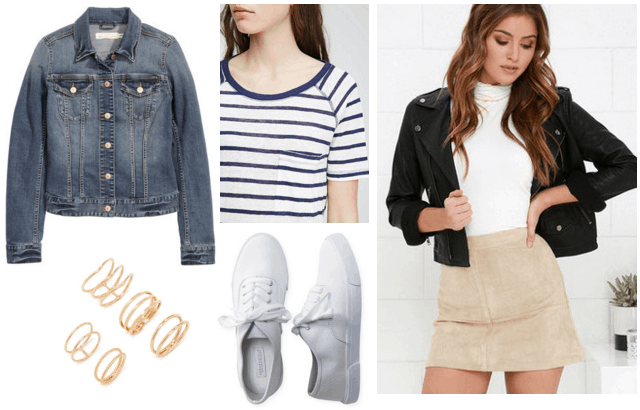 faux suede skirt, striped tee, denim jacket
