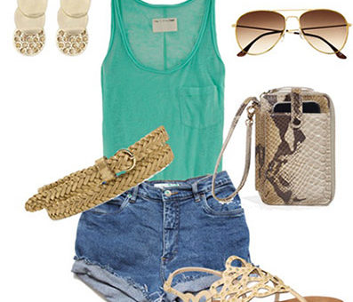 How to wear high waisted shorts and a tank with a gold belt, woven sandals, a wristlet, sunglasses, and bold earrings