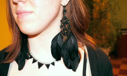 Feather earrings and geometric necklace