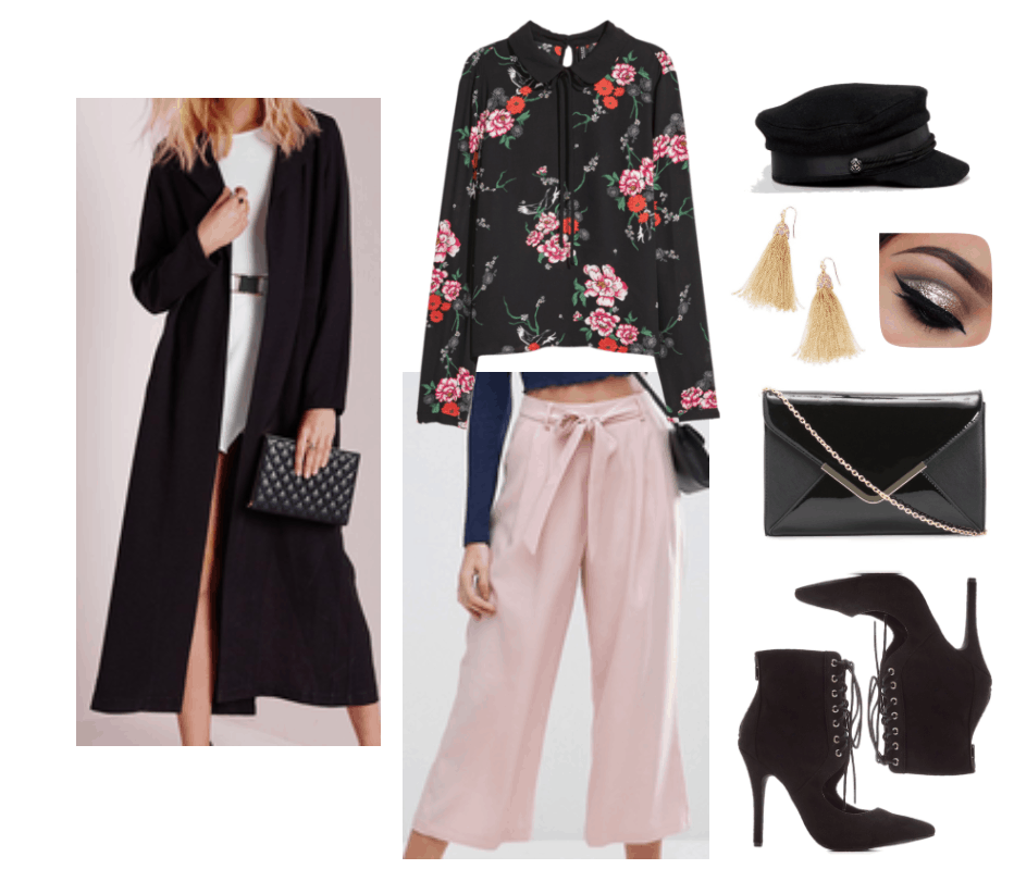 Outfit with floral blouse and nude culottes.