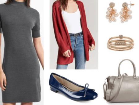 grey dress red cardigan navy ballet flats pearl earrings gold rings grey ruffled handbag
