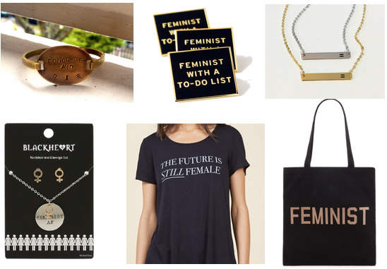 Feminist fashion picks: Future is Female tee, Touch Me and Die bracelet, Feminist pins, equality necklace, Feminist tote bag, Feminist AF necklace