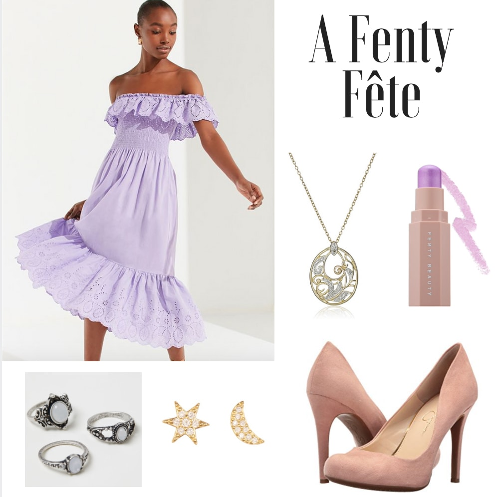 Outfit inspired by Fenty Beauty: Lavender dress, light pink suede heels, Fenty beauty stick, moon and sun jewelry
