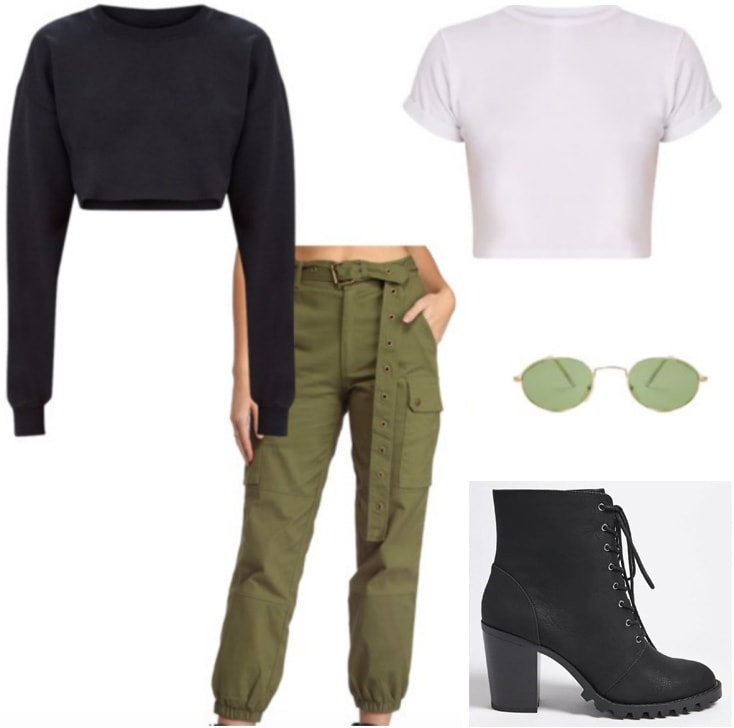 Outfit inspired by Fenty x Puma Spring 2018: Green cargo pants, cropped black sweatshirt, cropped white tee shirt, lace-up ankle boots, round green sunglasses
