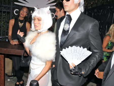Fergie and Josh Duhamel dressed as Karl and choupette lagerfeld