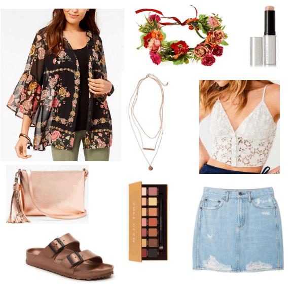 Metallic bag, kimono, metallic slides, flower crown, eye palette, highlighter, lace top, denim skirt