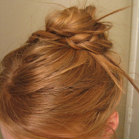 Braided bun hairstyle: Above view