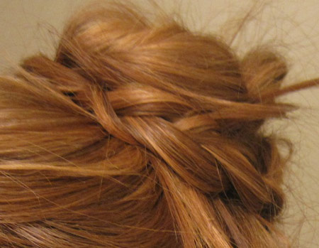 Braided bun hairstyle: Close up