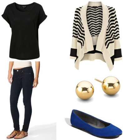 Final exams outfit 1 - Striped cardigan, jeans, studs, colorful flats