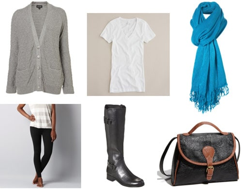 Final exams outfit 3 - Leggings, cardigan, white v-neck tee, riding boots, scarf