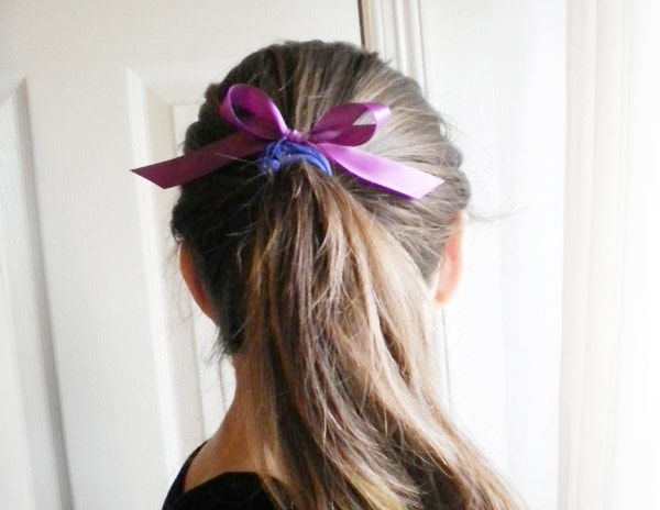 DIY knotted hair tie - finished product