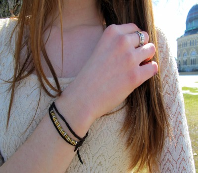 College street style fashion trend - mixed metal jewelry