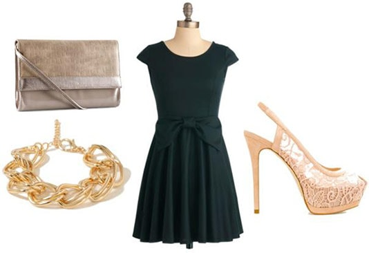 First date outfit 1: Little black dress, gold accessories, simple neutral clutch