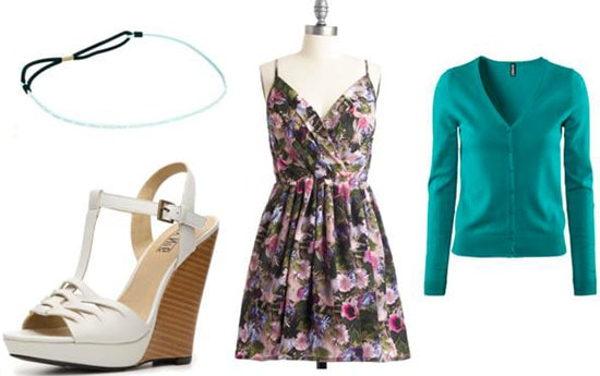 First date outfit under 0 for seeing a play: Floral dress, cute cardigan, bracelet, wedges