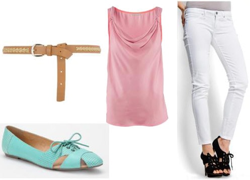 First date outfit for a day at the aquarium: Pink tank, white skinny jeans, aqua flats, leather belt