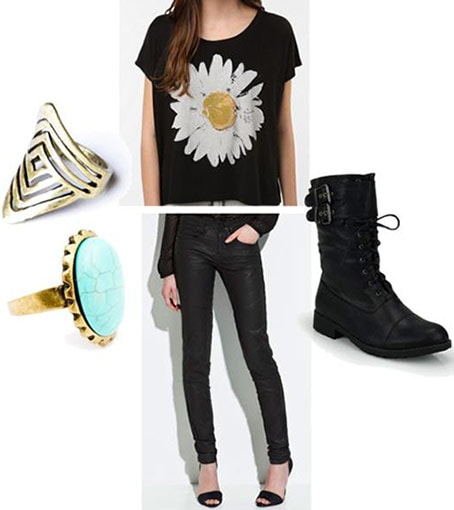 First date outfit for seeing a local band: Black skinny pants, graphic tee, lace-up boots, statement rings