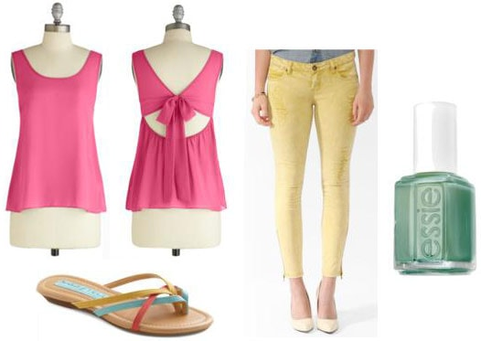 First date outfit: Bold yellow jeans, cute pink tank, sandals, aqua green nail polish