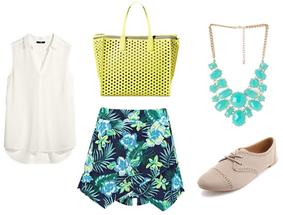 First Day of School Outfit: tropical print skort, sleeveless blouse, oxfords