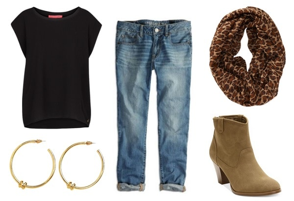 First Day of School Outfit: Boyfriend jeans, black tee, ankle boots