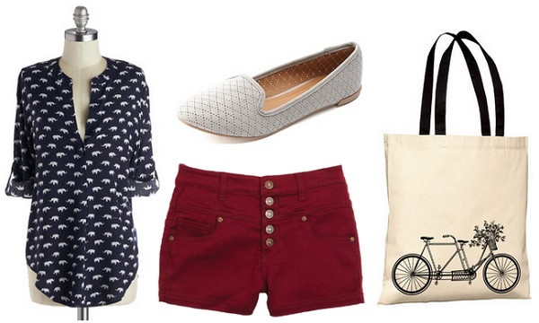 First Day of School Outfit: Printed Blouse, Red Shorts, Loafers