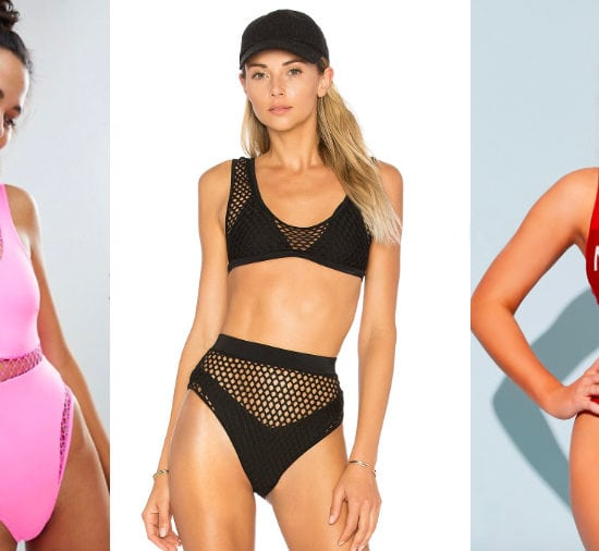Fishnet panelled swimsuit trend from left to right: stretchy pink one-piece swimsuit with fishnet inserts from ASOS, an athletic-style two-piece swimwear set with mesh overlay from Revolve, and a bright red scoop-neck one-piece swimsuit with a metallic Mermaid graphic from Forever 21.
