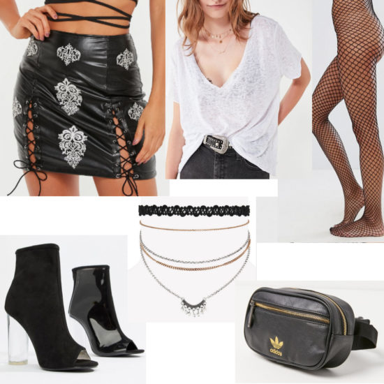 Fishnet tights outfit for evening with black lace-up leather skirt, white burnout v neck tee, chokers, perspex heels and Adidas fanny pack