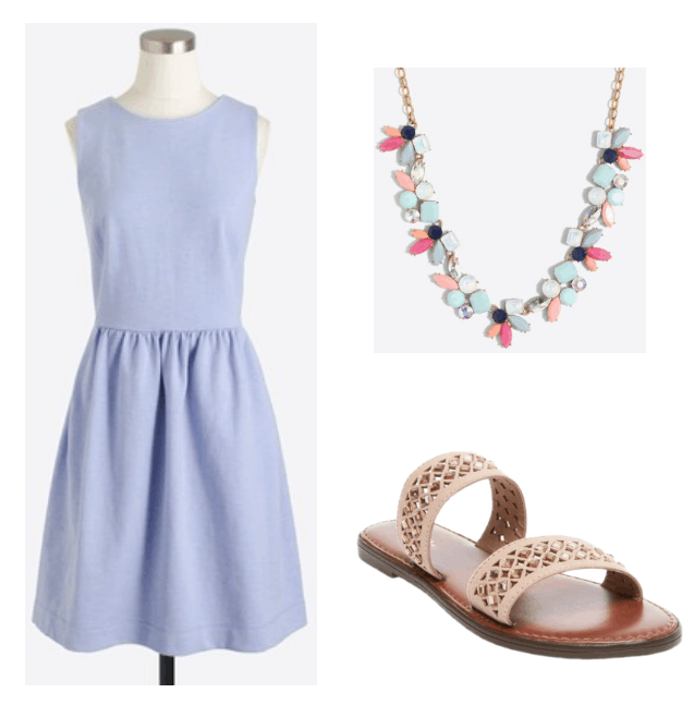 Cute, preppy and girly outfit for summer: Light blue fit and flare dress with blue, pink and gold statement necklace and nude sandals
