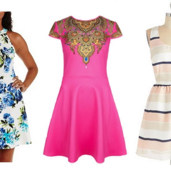 3 fit and flare dresses.