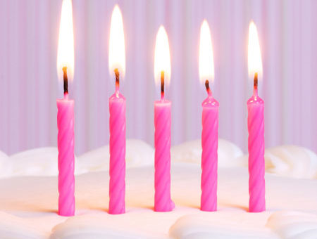 Five candles on a cake
