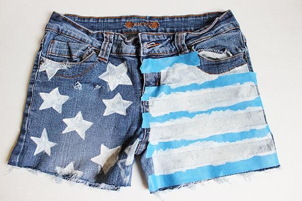 Flag shorts step three
