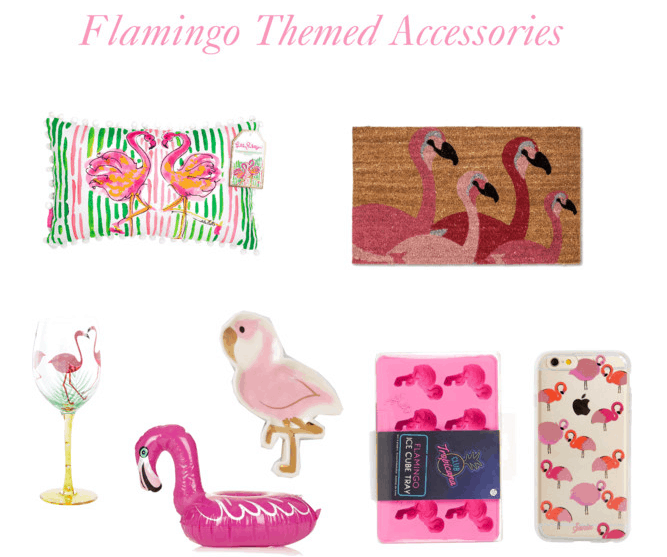 Flamingo print accessories