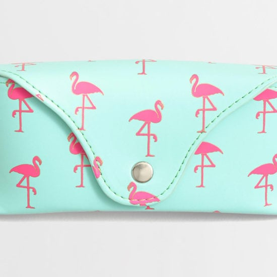 Flamingo print glasses case