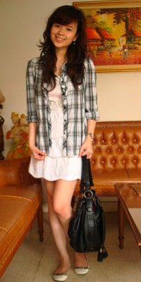 flannel and tiered dress