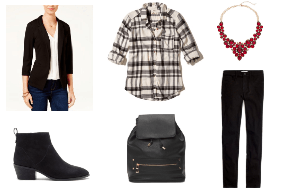 Flannel shirt outfit for class: Black and white flannel shirt, black blazer, black ankle booties, red statement necklace, black backpack, dark wash jeans