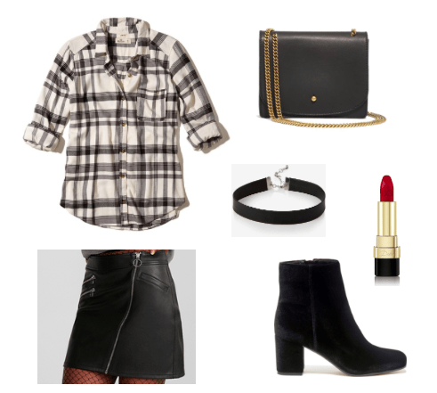 Flannel shirt outfit for night: Black and white flannel shirt, asymmetrical leather skirt, suede ankle booties, choker, crossbody bag