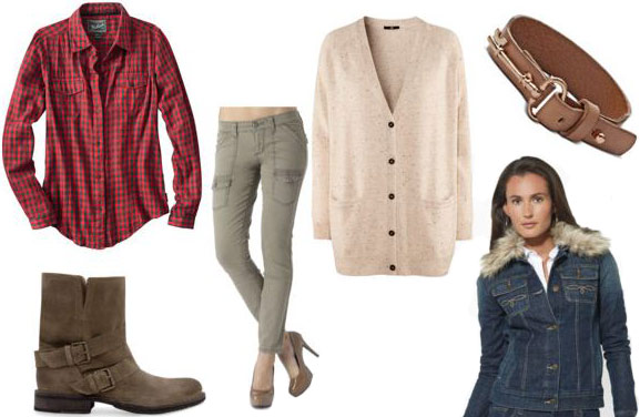 How to wear a flannel shirt with skinny cargoes, a cardigan, boots, and a denim jacket