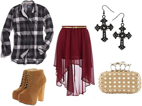 How to wear a flannel shirt with a high-low skirt, platform boots, a studded clutch, and edgy jewelry