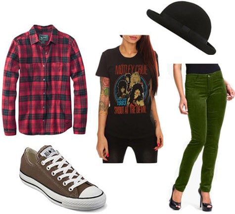 How to wear a flannel shirt with colored jeans, sneakers, a graphic tee and a bowler hat