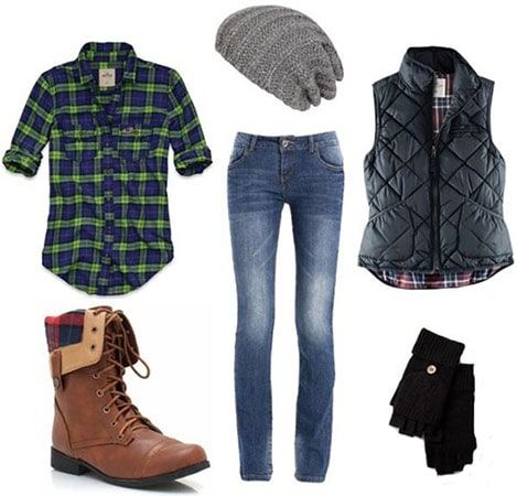 How to wear a flannel shirt with boots, skinnies, a vest, and winter accessories