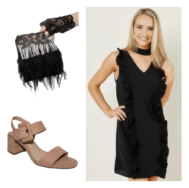 How to repurpose a costume: Flapper clutch with feathers worn with chunky heeled sandals and a little black dress