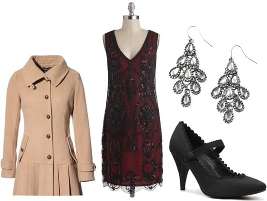 Flapper dress outfit: Red and black beaded dress, tan dress coat, large jeweled earrings, low-heel black mary-jane pumps