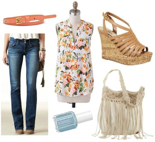 Flare jeans floral top wedges essie nail polish