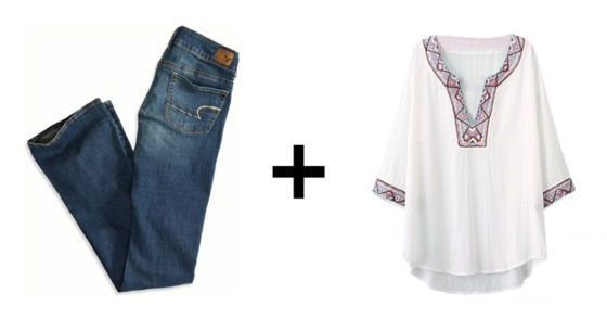 Flare jeans and peasant blouse