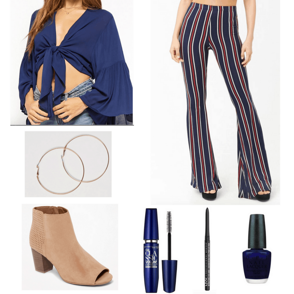Striped flared pants with bell sleeve top, hoop earrings, booties, mascara, eyeliner, and nail polish.