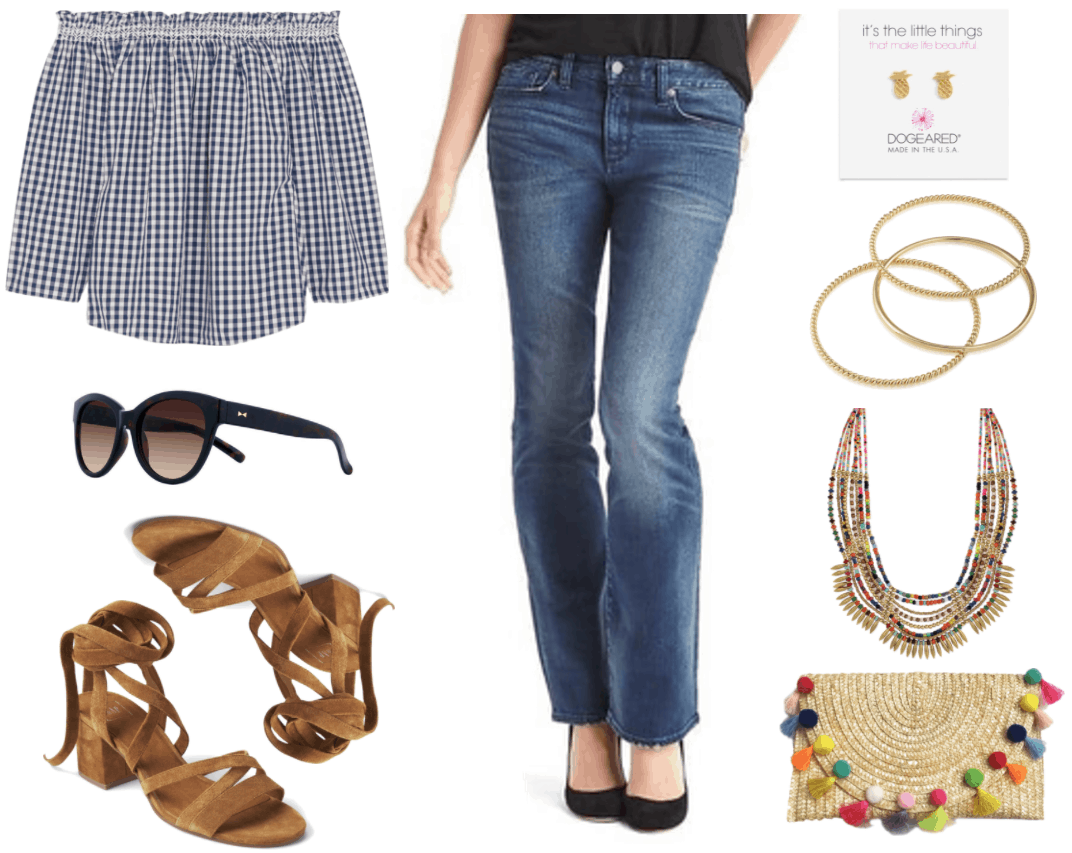 """""""Ask CF: How Do I Make Flared and Bootcut Jeans Look Fashion-Forward?"""" Outfit #1 featuring navy blue and white gingham off-the-shoulder three-quarter-sleeve blouse, black cat-eye sunglasses with gold detail, brown tie-up sandals with block heel, medium-wash bootcut jeans, gold pineapple stud earrings, set of three gold bangles, mult-colored beaded bib necklace, oversized straw clutch with multi-colored pom poms and fringe"""