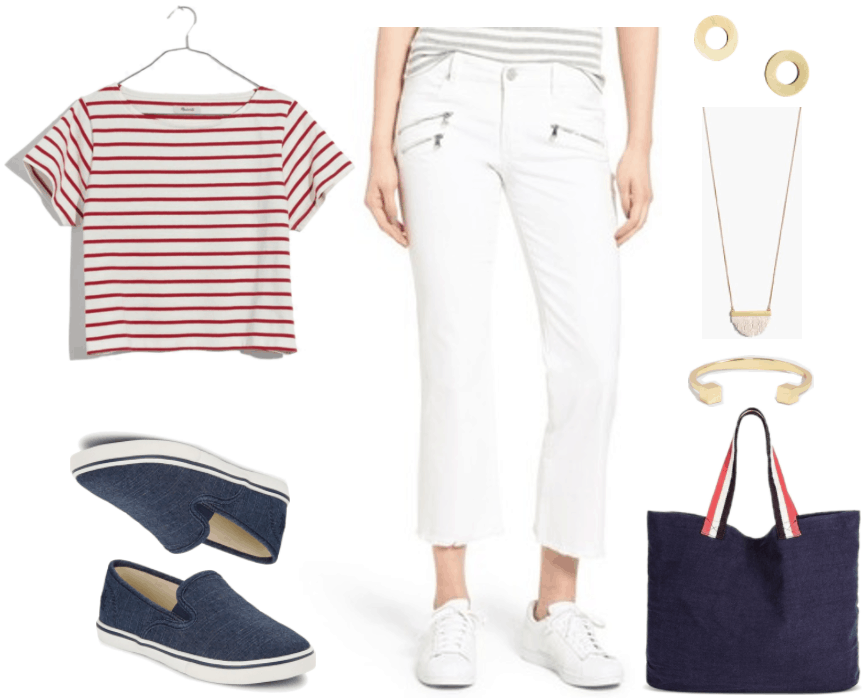 """""""Ask CF: How Do I Make Flared and Bootcut Jeans Look Fashion-Forward?"""" Outfit #2 featuring red and white striped short-sleeved t-shirt, dark blue chambray slip-on sneakers, white cropped kick-flare jeans with zippers and frayed hem, gold disc-shaped stud earrings, gold necklace with white fringe, gold cuff bracelet with cubes, navy blue canvas tote with red, white, and navy handles"""