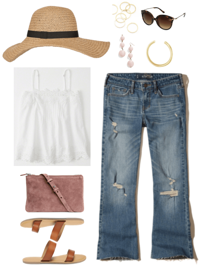 """""""Ask CF: How Do I Make Flared and Bootcut Jeans Look Fashion-Forward?"""" Outfit #3 featuring floppy straw hat with black ribbon, white lace-trimmed camisole, taupe-y pink cross-body bag, cognac brown double-strap sandals, set of seven gold hammered rings, pale pink wire-wrapped circular drop earrings, brown tortoise cat-eye sunglasses with gold hardware, gold heart cuff bracelet with engraved saying, medium-wash destroyed cropped flared jeans"""