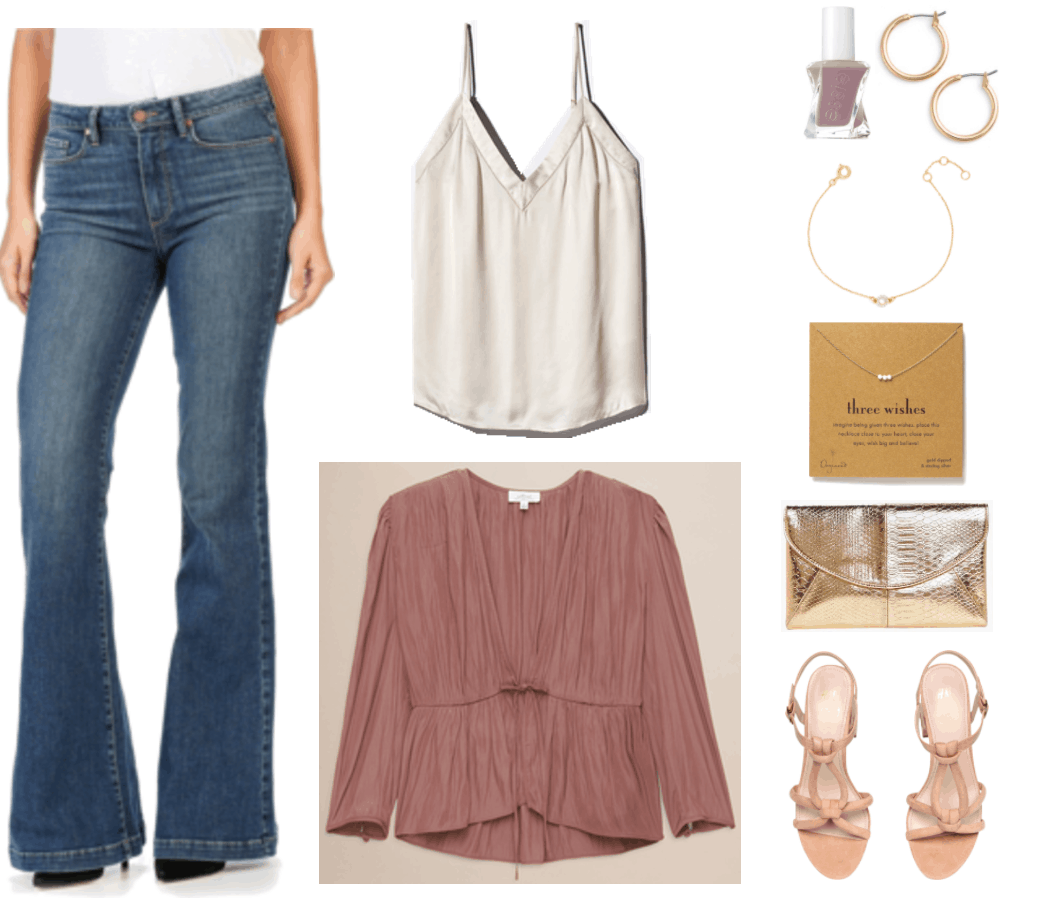 """""""Ask CF: How Do I Make Flared and Bootcut Jeans Look Fashion-Forward?"""" Outfit #4 featuring medium-wash flared jeans, off-white v-neck camisole, dusty pink tie-front long-sleeved blouse, dusty mauve Essie Gel Couture Color nail polish in """"Take Me to Thread,"""" small gold hoop earrings, gold bracelet with clear crystal ring, gold necklace with three sparkly silver beads, gold croc-embosssed envelope clutch, block-heeled ankle-strap sandals with knotted front straps"""
