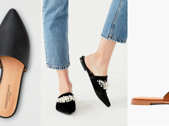 Flat pointed toe mules (from left to right): black leather slip-ons from American Eagle, black velvet mules with clustered white pearls from Urban Outfitters, and brown leather loafer-style mules from Madewell.