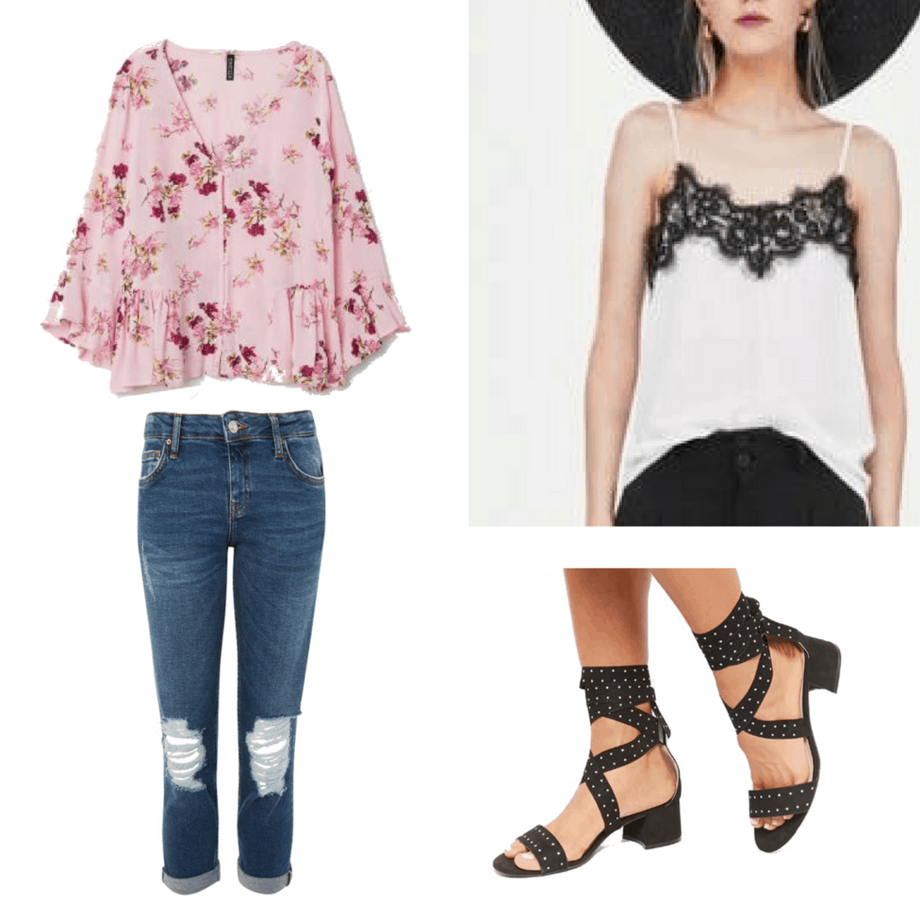 Summer is finally HERE! But some of us still have school and need to look ready to learn. Try this relaxed outfit of a billowy light pink blouse, and easy to wear boyfriend jeans. For a little extra style pair this outfit with chunky ankle tie short heels!